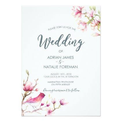 Beautiful Magnolia Floral Wedding Invitation Zazzle Com Floral Wedding Invitations Watercolor Floral Wedding Invitations Floral Wedding Invitations Elegant