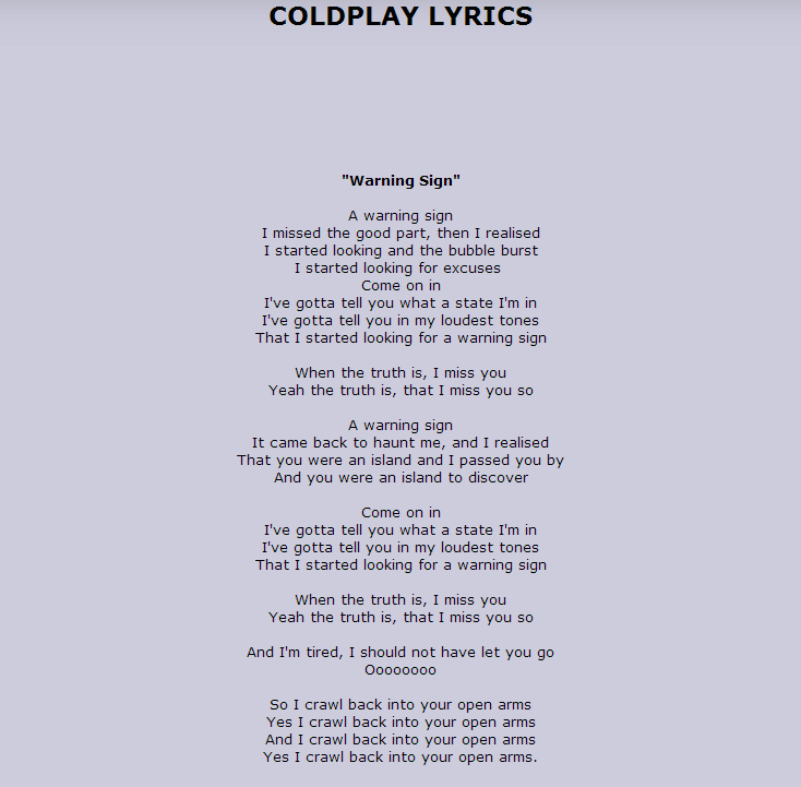 Lyric maroon five love somebody lyrics : Coldplay - Warning Sign( Love this song so much) Link To Song ...