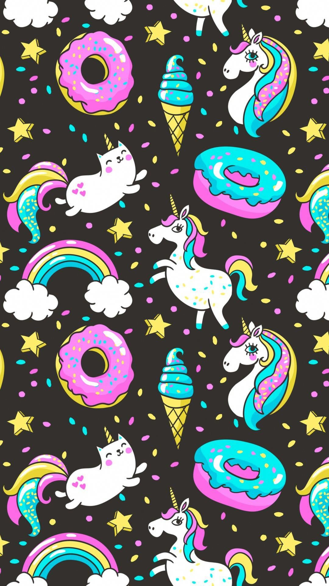 Unicorns And A Cat Icorn Unicornart Unicorn Wallpaper Unicorn Wallpaper Cute Unicorn Art