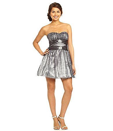 B Darlin Strapless Glitter Mesh Party Dress #Dillards