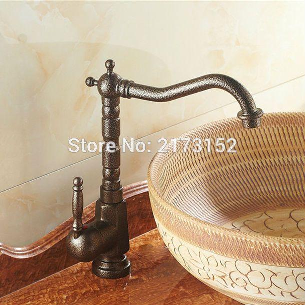 Luxury Tall European Antique Bronze Bathroom Sink Mixer Tap Long - Antique bronze bathroom fixtures