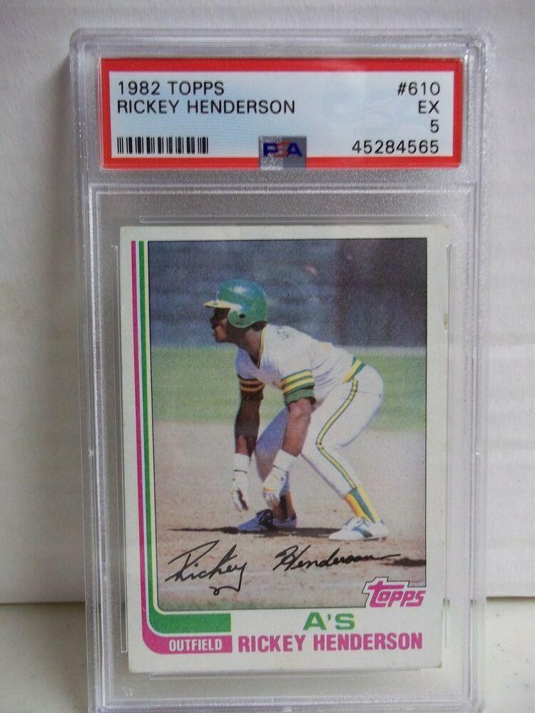 1982 topps rickey henderson psa ex 5 baseball card 610