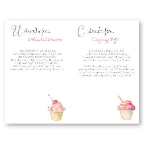 Mary Kay Cupcake Marketing half sized printable cards with