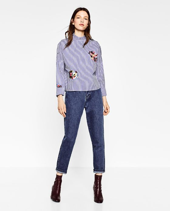 a0649a279f Image 1 of FLORAL EMBROIDERED STRIPED SHIRT from Zara   Spring ...