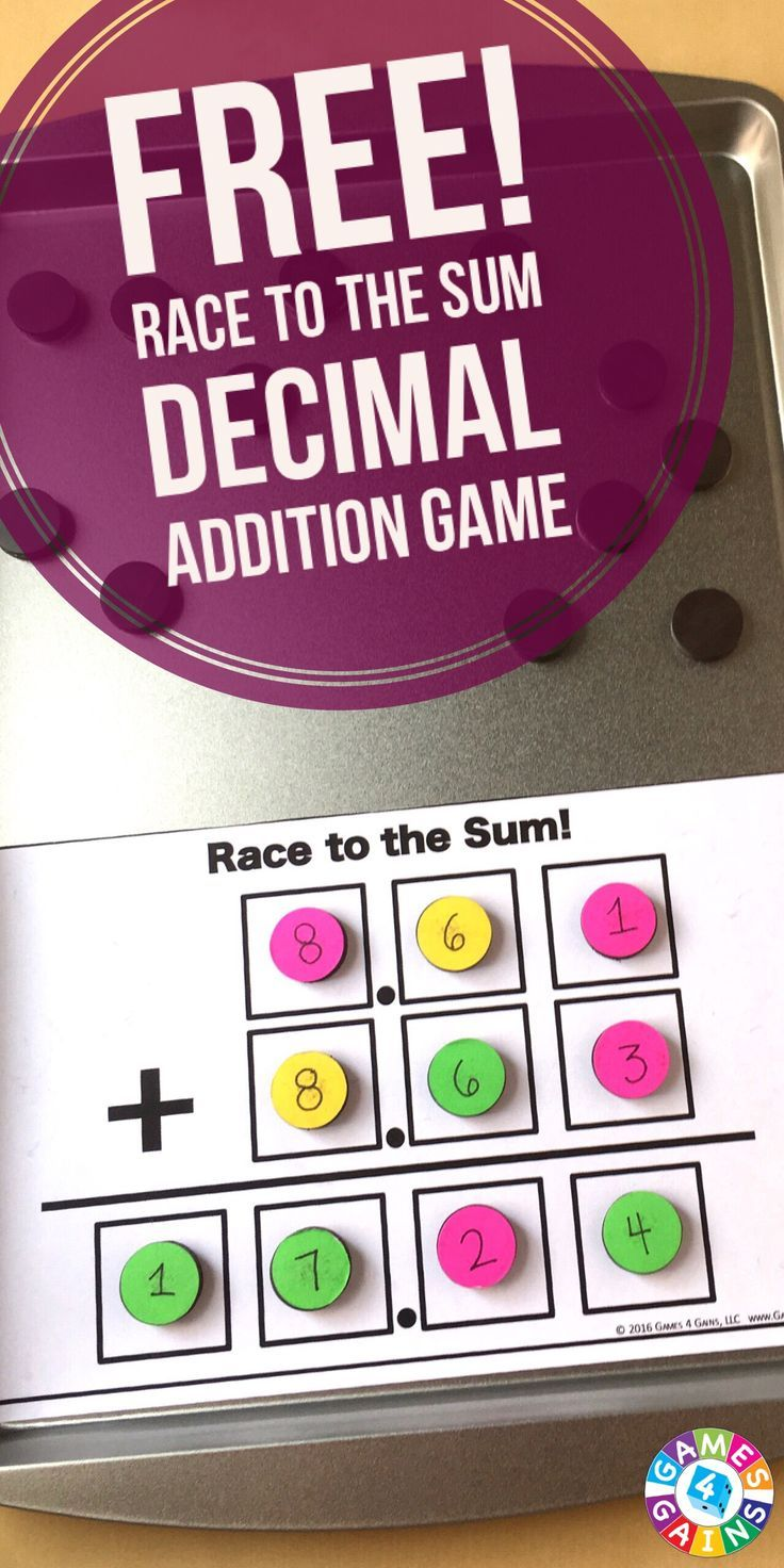 Race to the Sum: A Multi-Digit Addition Game | Adding decimals ...
