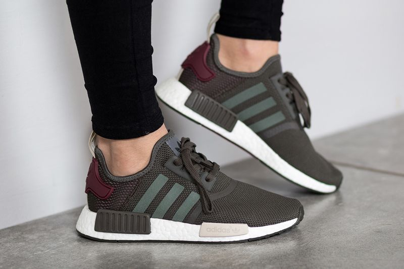 official photos 0bb52 cf4b3 adidas Originals NMD R1 Olive Green Maroon On Feet
