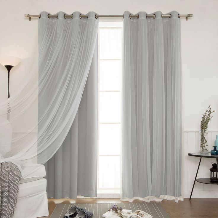 Aurora Home Mix And Match Curtains Blackout And Tulle Lace Sheer Curtain Panel Set 4 Piece By Aurora Home