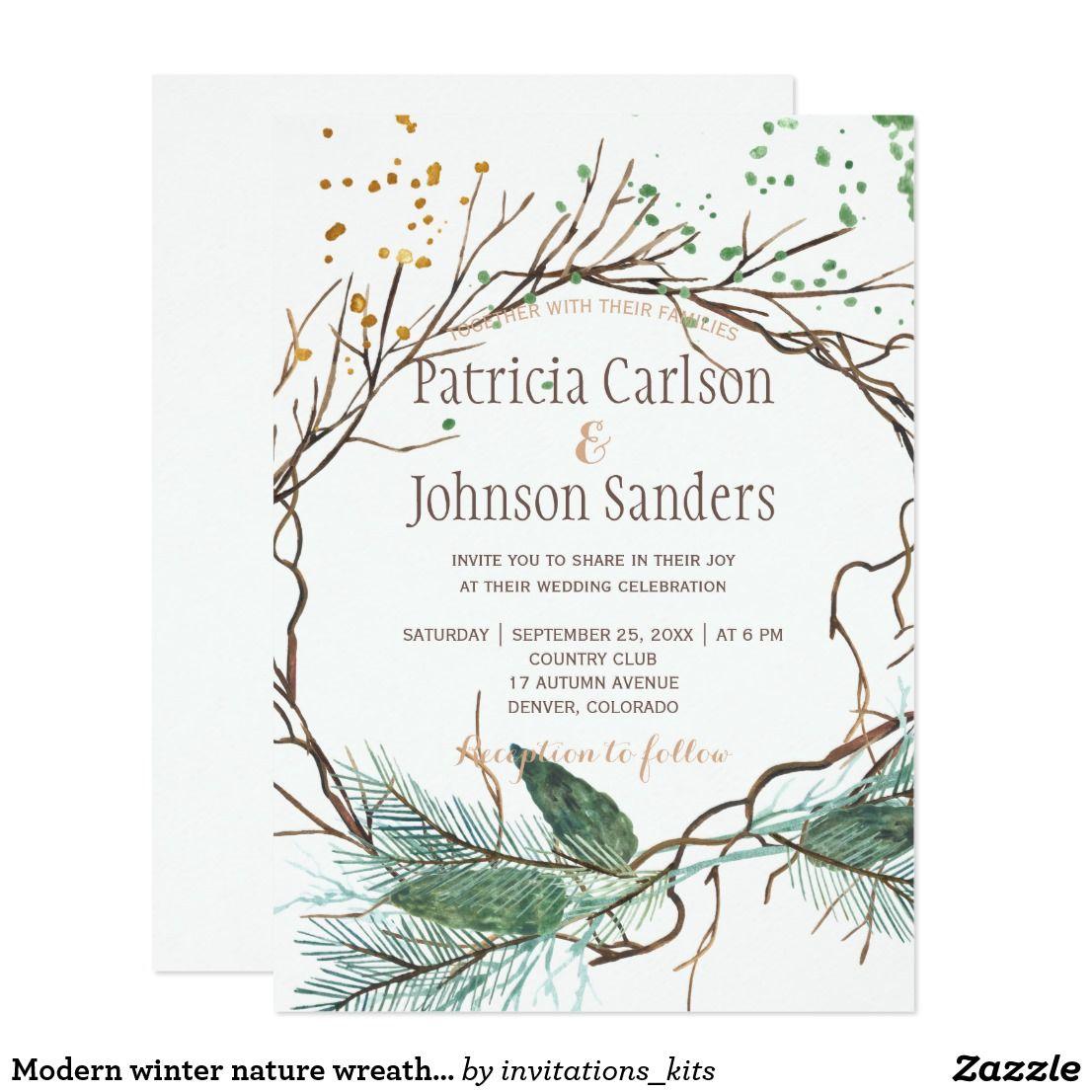 Modern winter nature wreath watercolor wedding invitation  Zazzle
