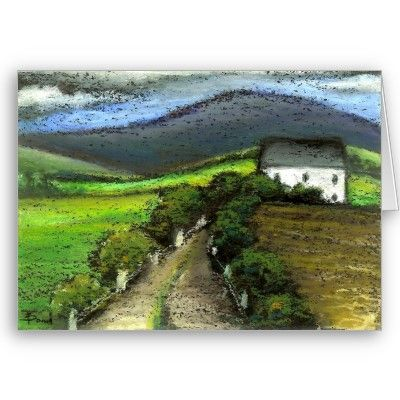 Old Irish farm house. Original oil pastel painting by Tanya Bond.
