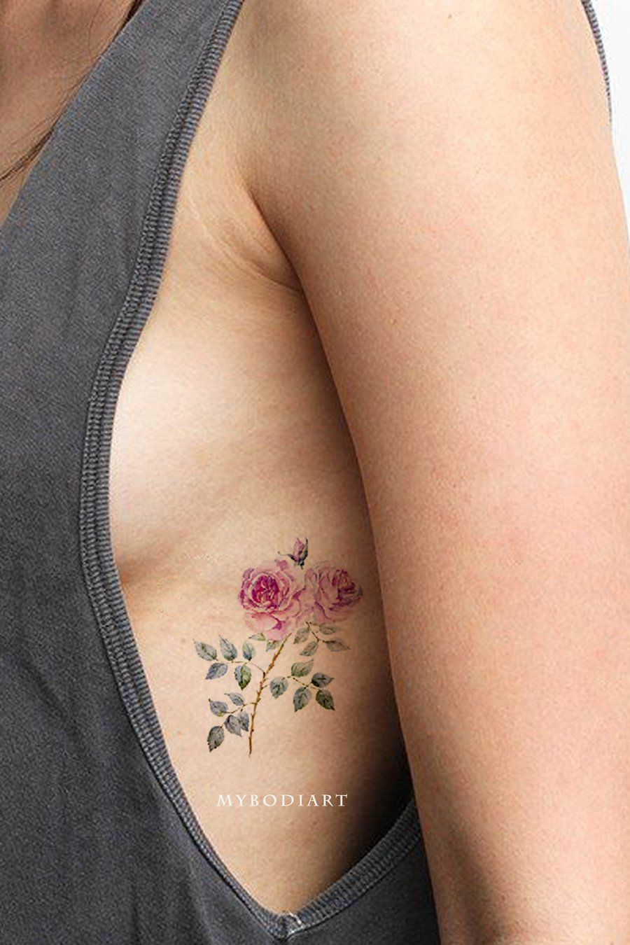 Photo of Ryoko Small Watercolor Wild Flower Rose Temporary Tattoo
