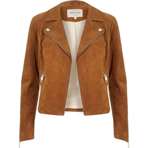 ca514e4a35b679 River Island Tan suede biker jacket ( 240) ❤ liked on Polyvore featuring  outerwear