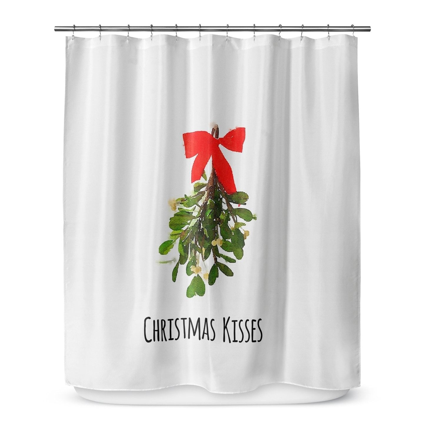 Christmas Kisses Shower Curtain By Terri Ellis Green Red Black