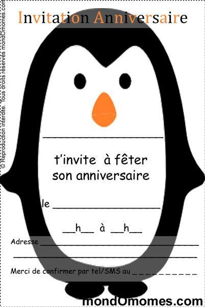 Exceptionnel cartes invitation anniversaire enfant pingouin | Anniversaire  FW47