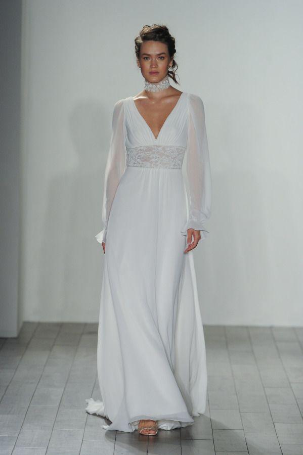 49e7753b8b75 Stunning puff long sleeve v-neck lace choker wedding dress  http