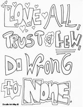 Love Quotes Coloring Pages Love All Trust A Few Do Wrong To