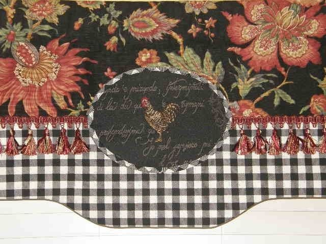 Custom French Country Valance Curtain Jacobean Black Check Rooster - French country valances