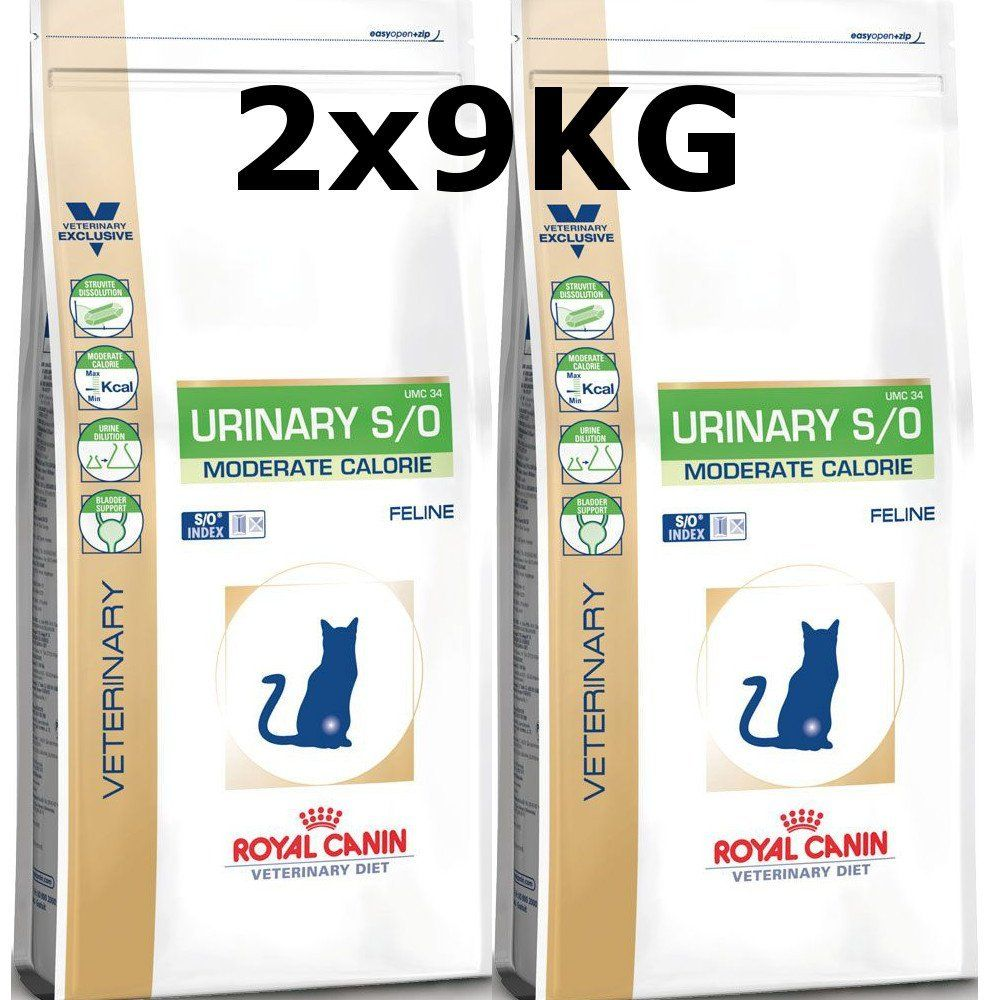 Royal Canin Urinary S O Moderate Calorie Cats 2 X 9kg 18kg Cat Food Royal Canin Feline