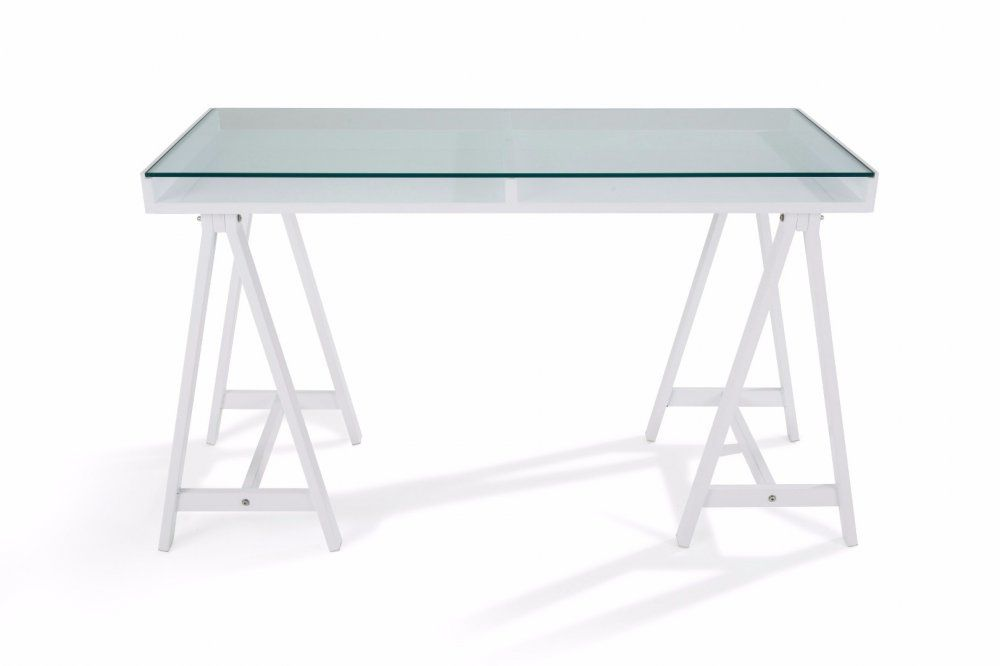 Bureau study blanc plateaux en verre trempé bureaux design pinterest