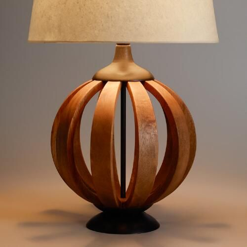 crafted in india of natural mango wood slats our exclusive wood barrel table lamp base - Unique Table Lamps