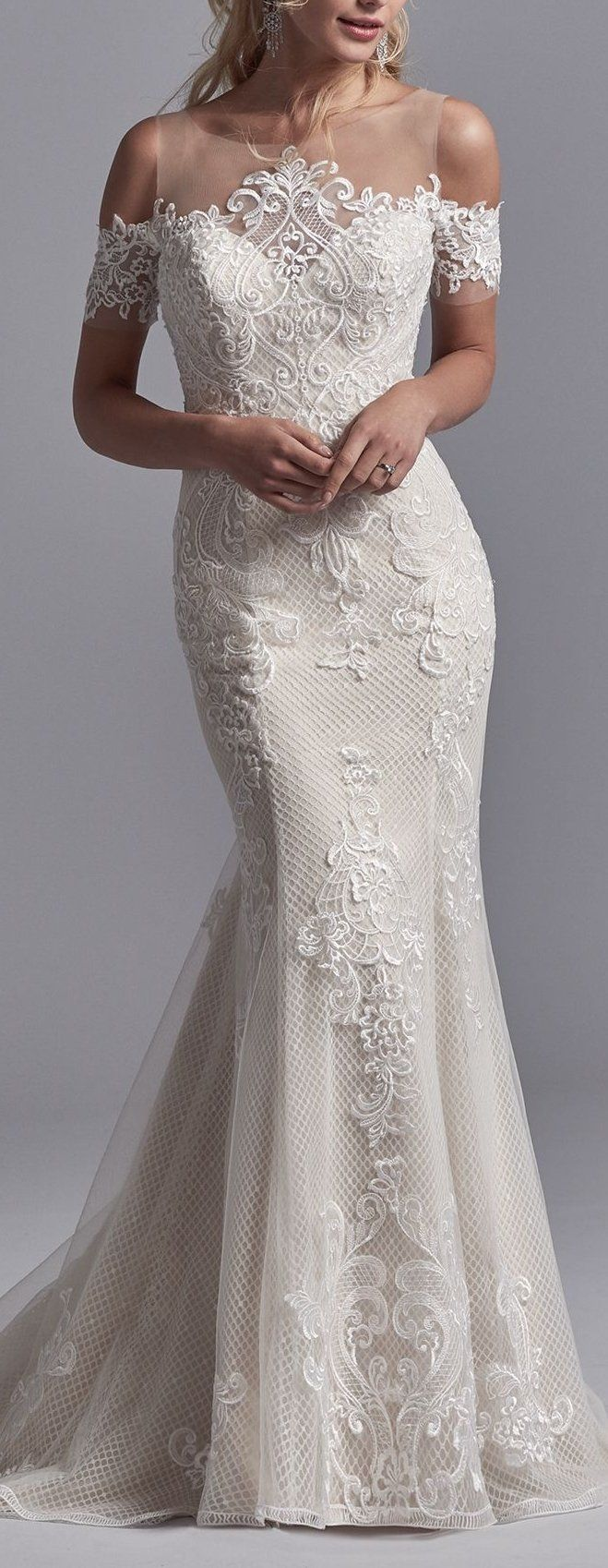 Maggie sottero wedding dresses shoulder sleeve illusion neckline