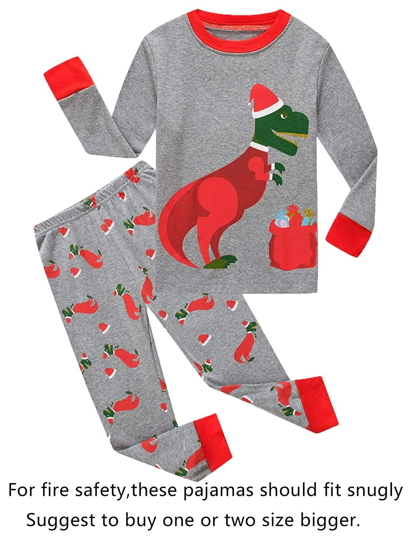 Little Boys Girls' Red Stripe Christmas Pjs Cotton Pajama