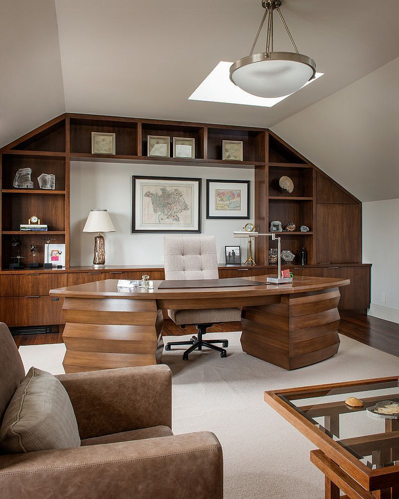 Traditional home office with warm wooden surfaces [Design: Sutro Architects]