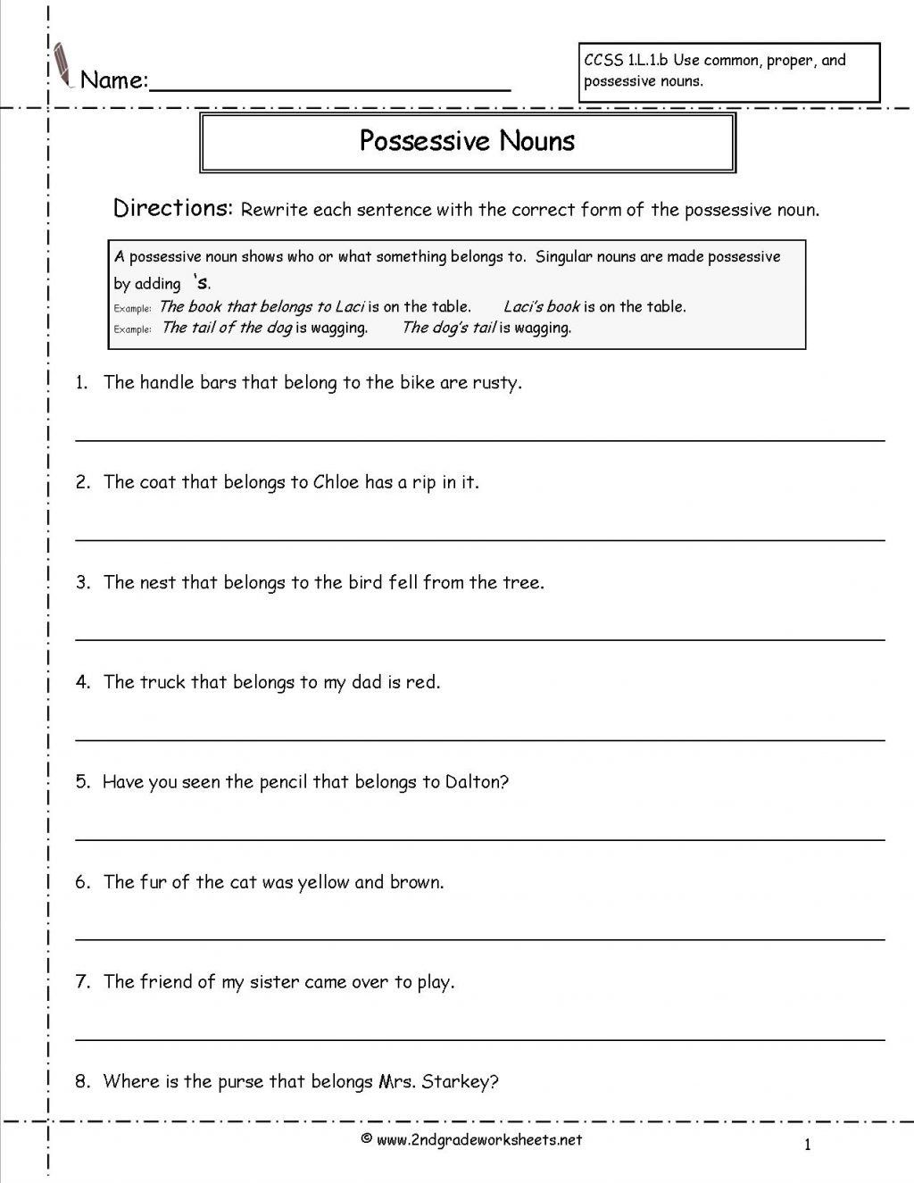 Second Grade Pronoun Worksheets Worksheet Ideas Second Grade Possessive  Nounss astonishi… in 2020   Possessive nouns worksheets [ 1325 x 1024 Pixel ]