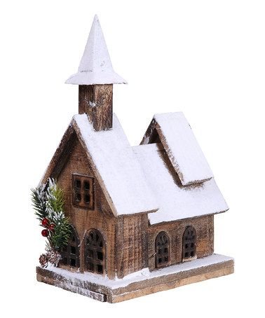 Another great find on #zulily! 13.4'' Holiday Wooden House Figurine #zulilyfinds