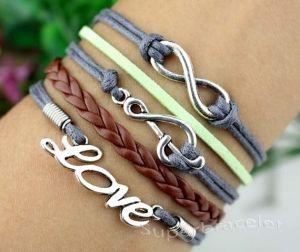Friendship LOVE bracelet gray leather cord by superbracelet by superbracelet