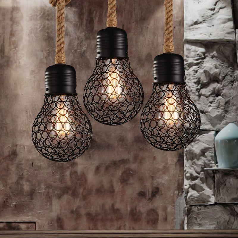 Vintage Rope Hanglamp edison lamp Amerikaanse Stijl metalen kooi ...