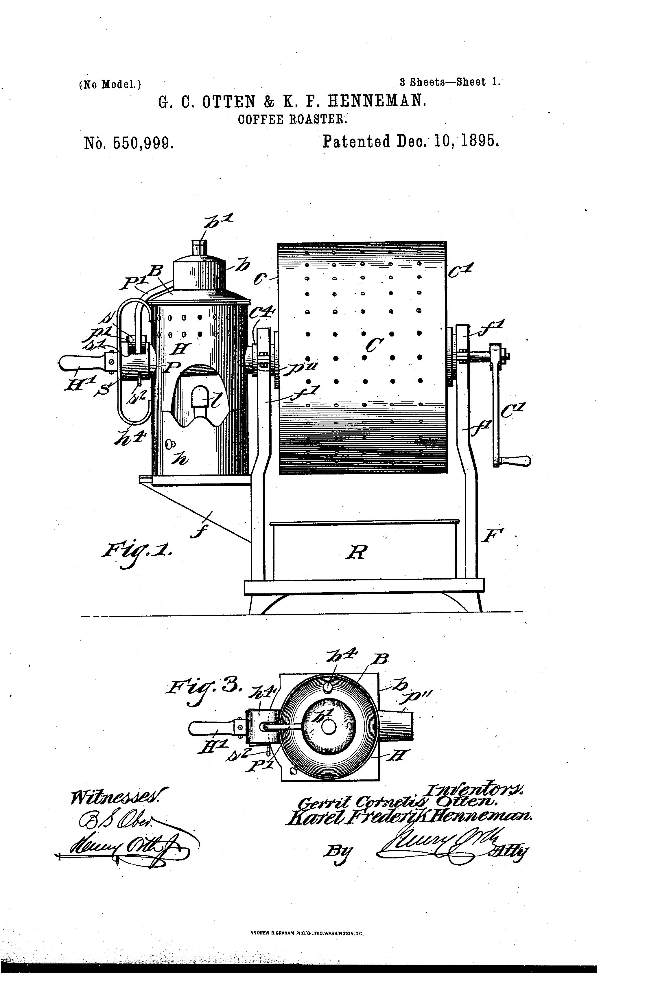 Henneman Coffee Roaster Patent Drawing