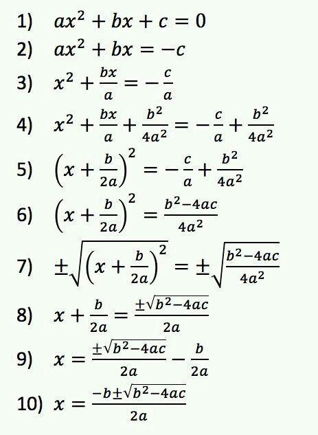 Complete The Square To Derive The Quadratic Formula Mathtricks
