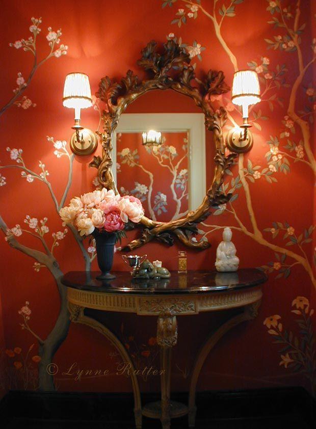 Red chinoiserie mural by lynne rutter of san francisco this is so elegant i