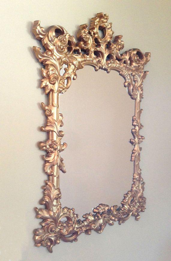 Hollywood Regency Vintage Mirror & Sconces - Gold Mirror