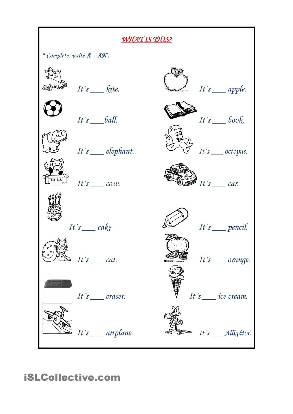 Indefinite Articles Articles worksheet, 1st grade