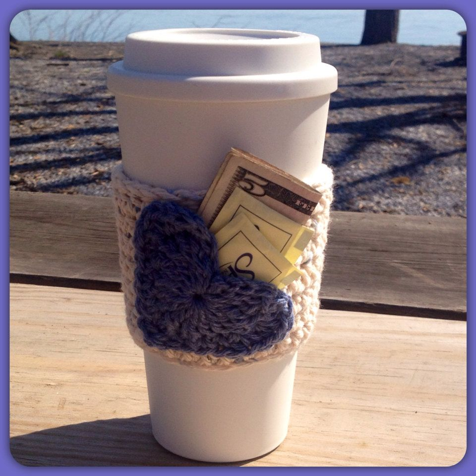Heart Pocket Coffee Or Drink Sleeve Cozy Wash Reuse Crochet