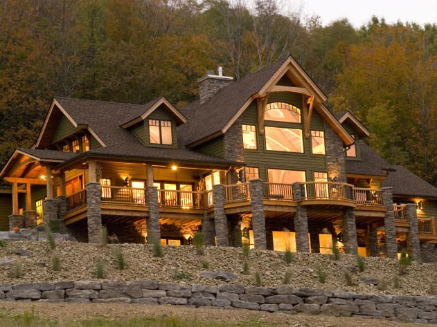 Luxurious timber frame lodge in new york http www for Luxury timber frame home plans
