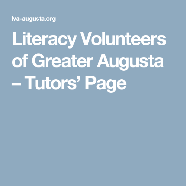 Literacy Volunteers of Greater Augusta –   Tutors' Page