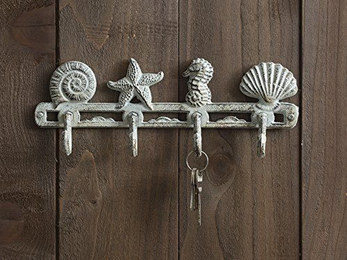 Cast Iron Sea Horse Stars And Shells With 4 Hooks Wall Mounted Decorative Rack Iron Wall
