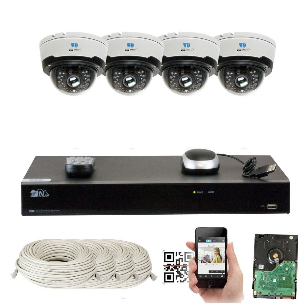 8 Channel H.265 4K NVR 4-Megapixel Motorized Zoom POE Plug & Play Security System, 4pcs 4MP 1520p 4X Optical Zoom Waterproof Dome IP Cameras, Support Quick QR Code Remote Access, 5TB WD Purple HDD