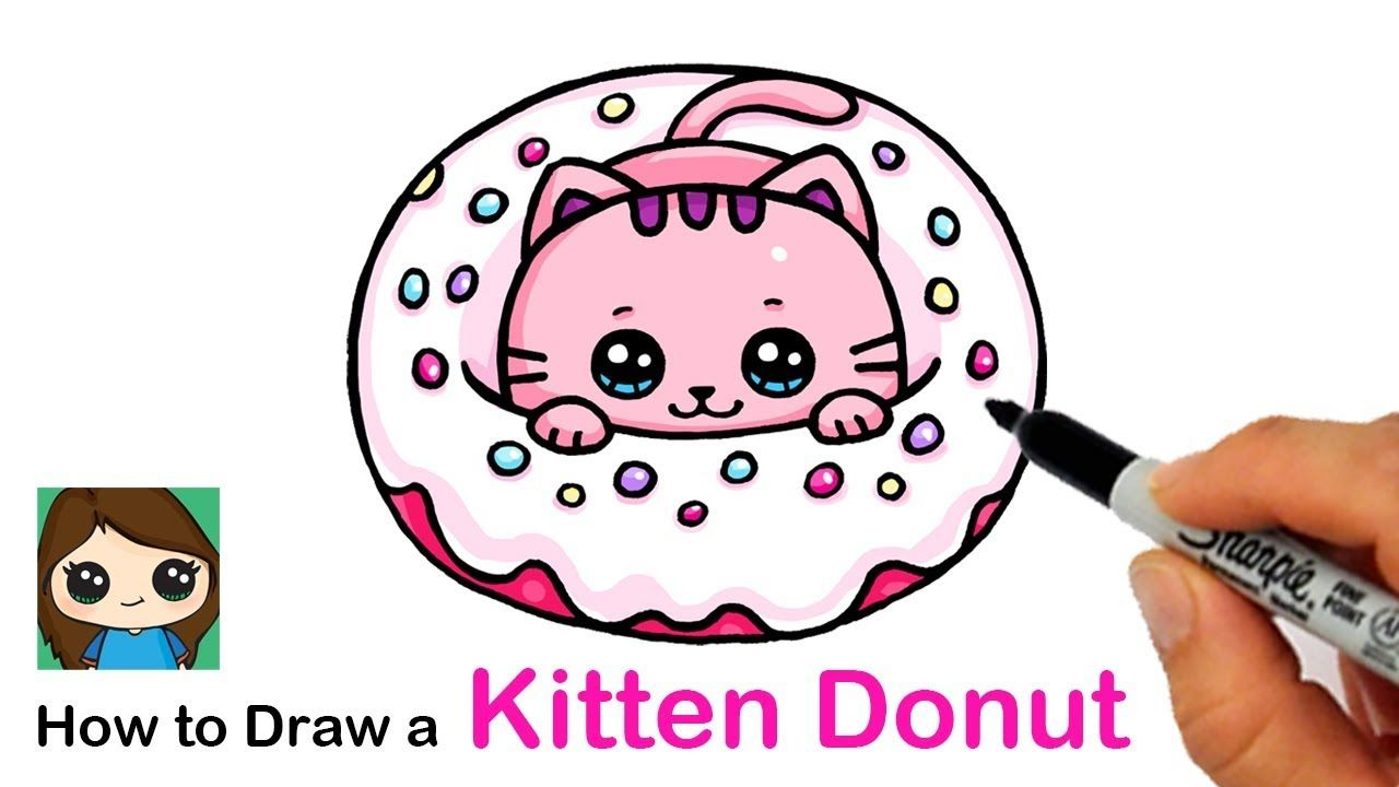 How To Draw A Kitten In A Donut Easy This Great Idea Was Featured Today At Cuteeverything Com Cute Drawings Kitten Drawing Cute Kawaii Drawings