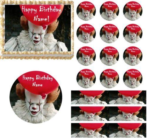 Creepy Scary Clown Edible Cake Topper Image Cupcakes Clown Cake