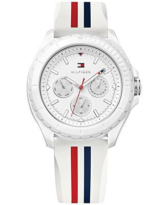 3c13e1bd1 Tommy Hilfiger Women's Red, White and Blue Rubber Strap Watch 40mm 1781424