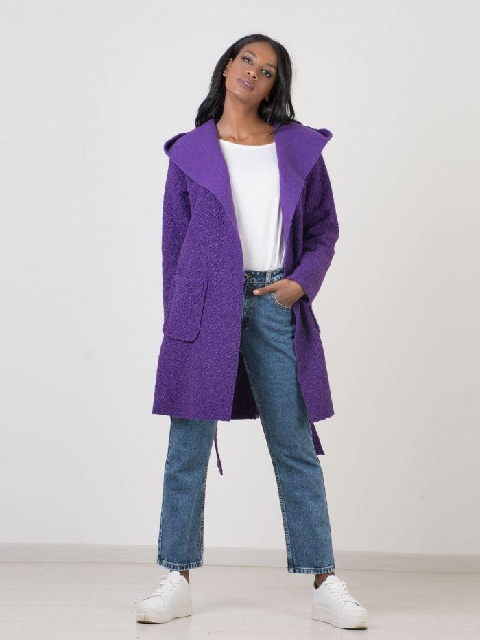 1b0b12a7fba4 C133 Παλτό Μπουκλέ με Κουκούλα και Ζωνάκι - Decoro - Γυναικεία ρούχα ...