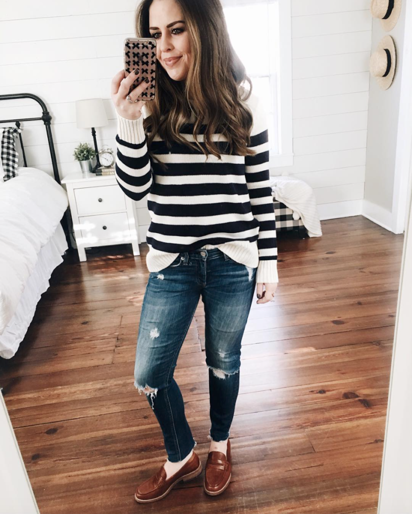9ca81b4d077 Black and white knit sweater+distressed jeans+brown loafers. Spring Casual  Outfit 2018