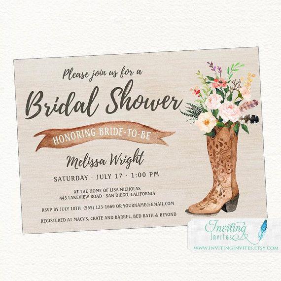 Cowboy Boot Rustic Bridal Shower Invitation, Country, Boho Chic - printable bridal shower invites