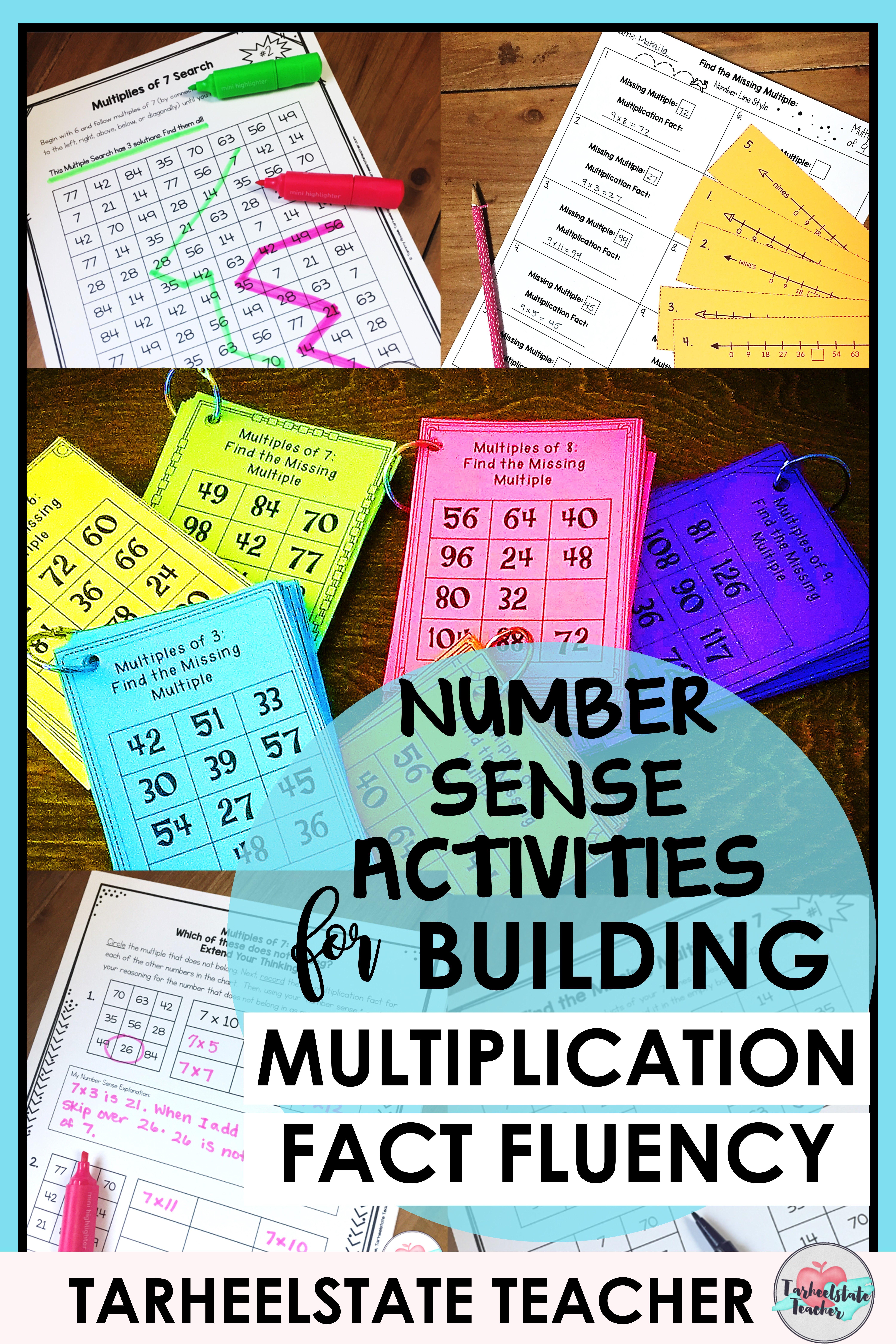 Multiplication Facts Activities Number Sense Intervention Tasks