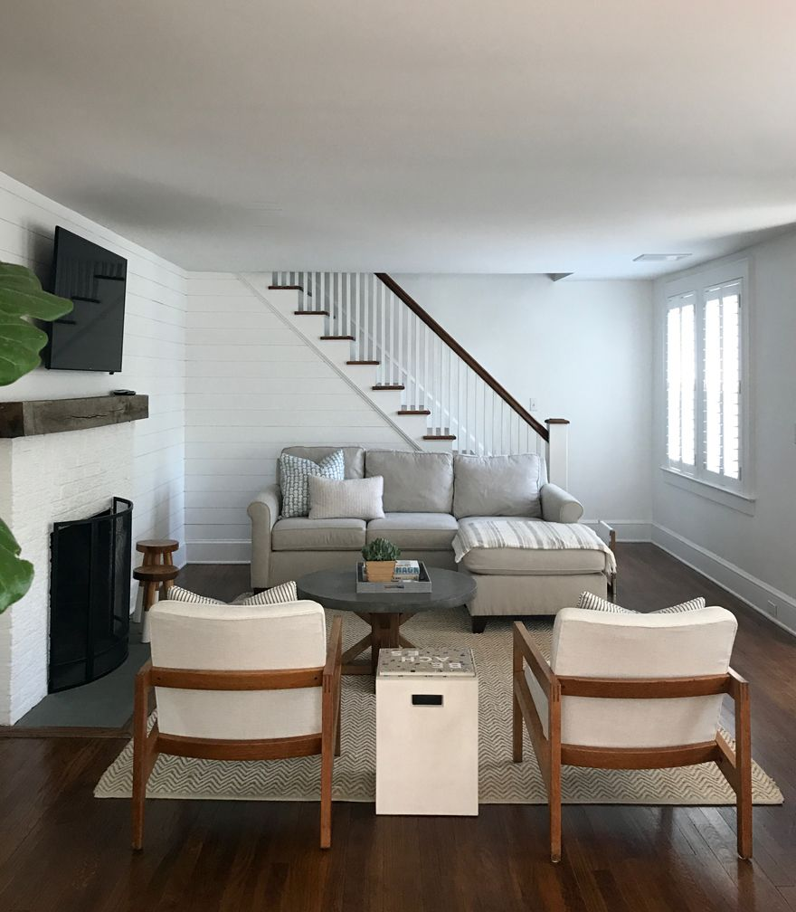 Modern New England Beach Cottage For A Young Family Most Lovely Things Stairs In Living Room Coastal Living Rooms Beach House Living Room #new #england #living #room