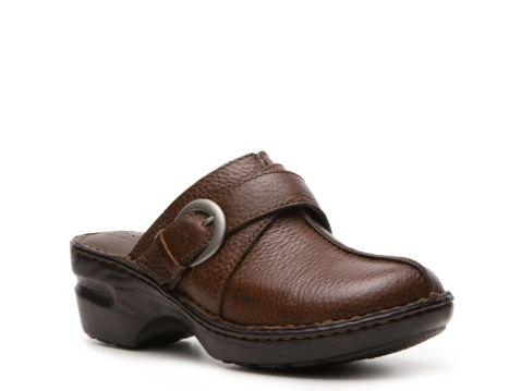 Brown B O C Ladies Leather Clog Peggy Smooth