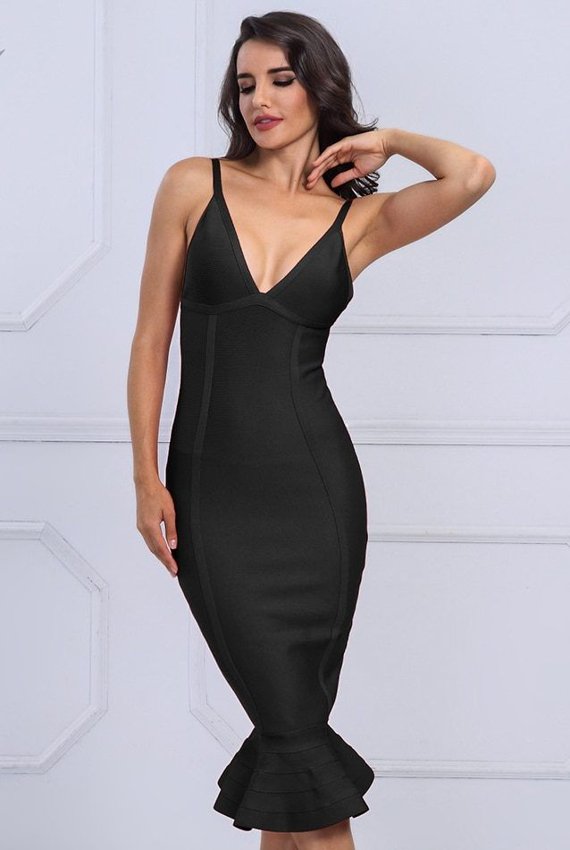 42e48d27fa Black Bodycon Midi Dress Bandage Dress Get this gorgeous dress for your  special night Excellent quality of the fabric This dress would shape your  body to ...